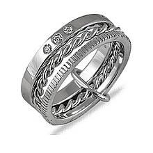Серебряное кольцо с куб. циркониями, размер 17.5 (042722)