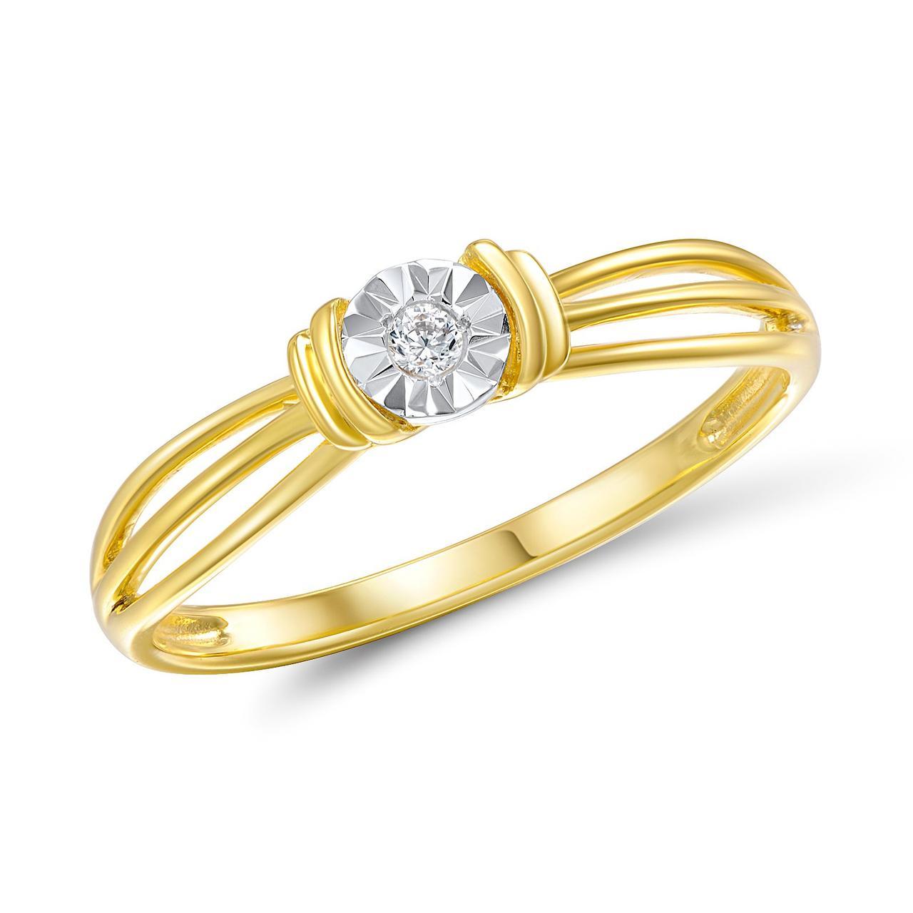 Золотое кольцо с бриллиантом, размер 16 (208925)