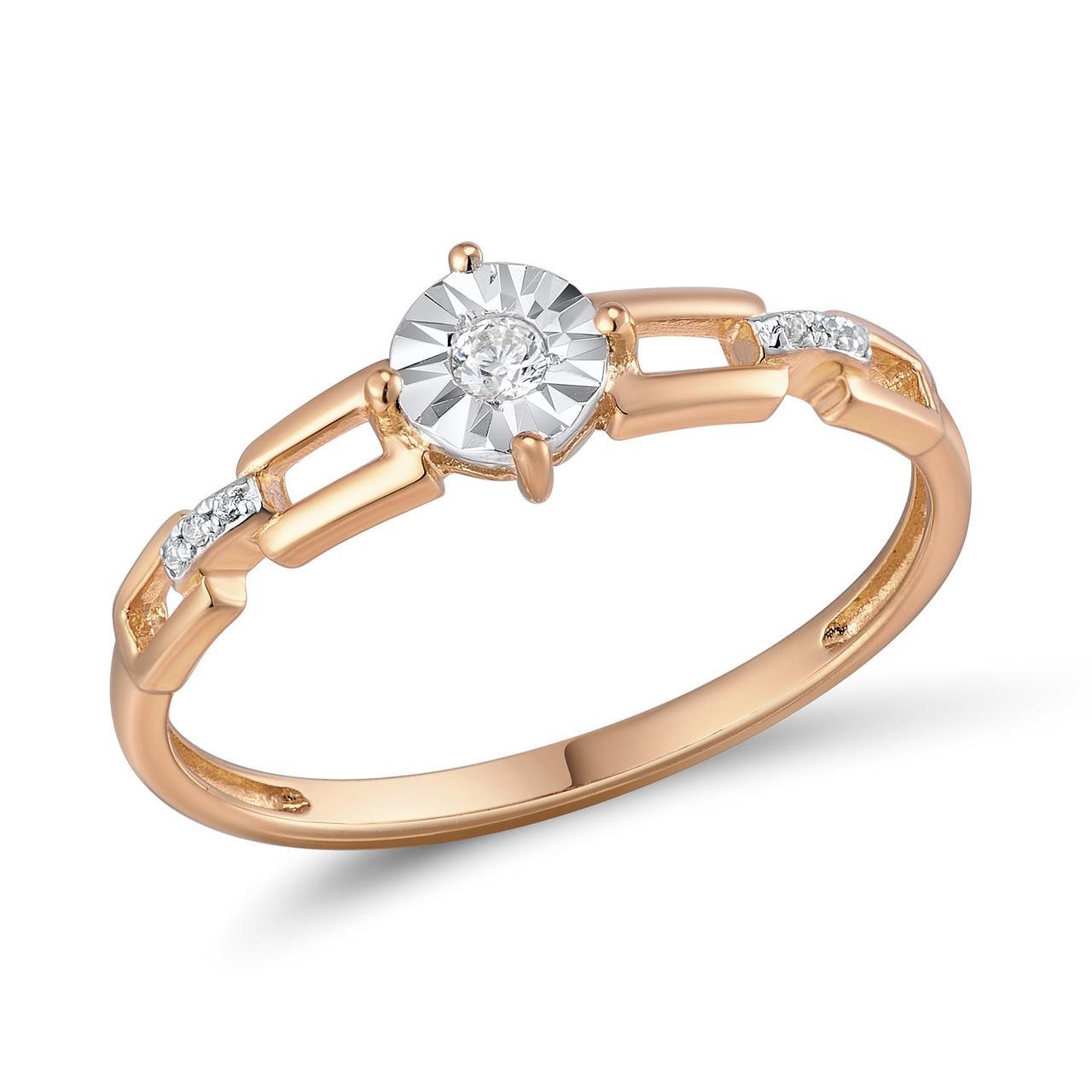 Золотое кольцо с бриллиантами, размер 18 (562842)