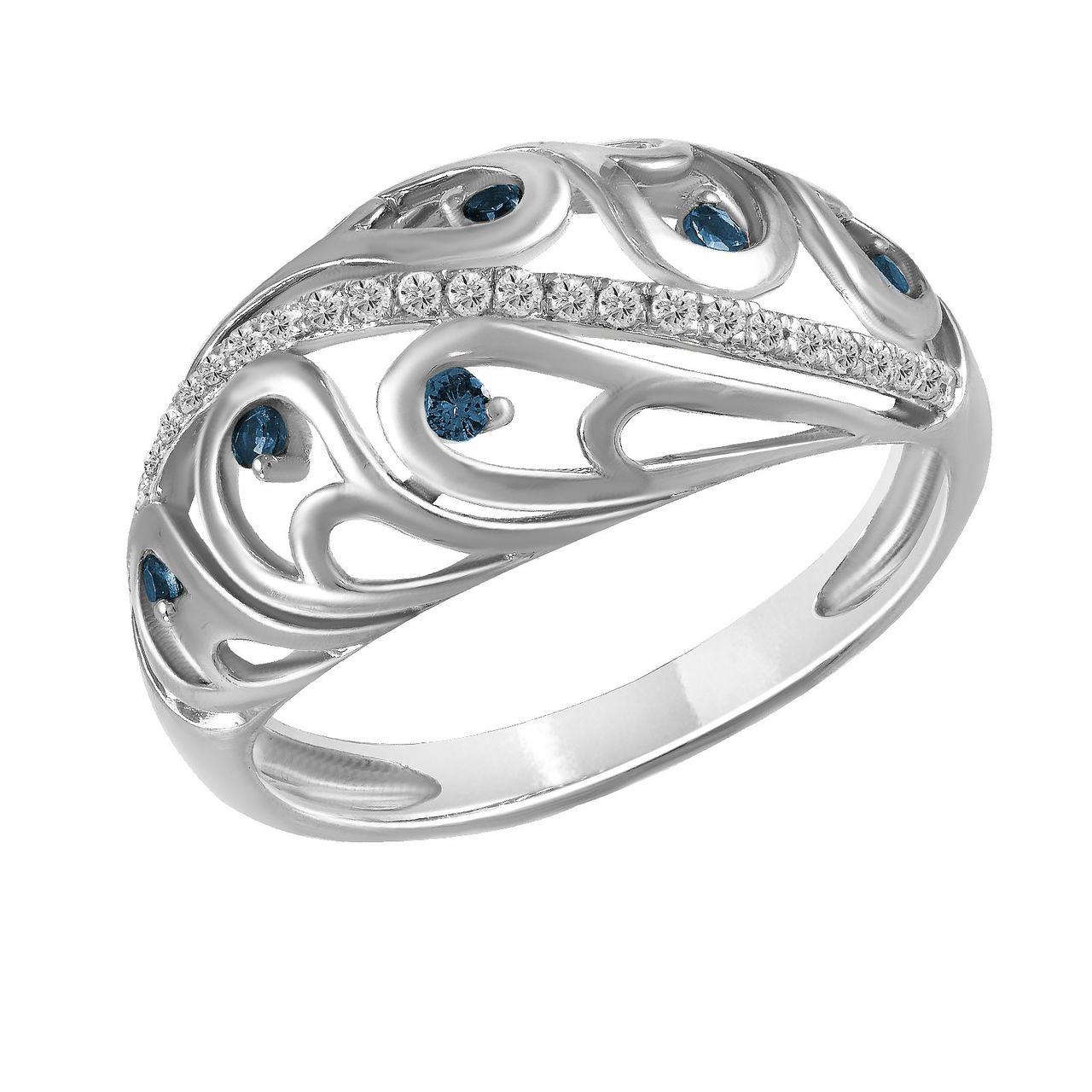 Золотое кольцо с бриллиантами и сапфирами, размер 16.5 (1512207)