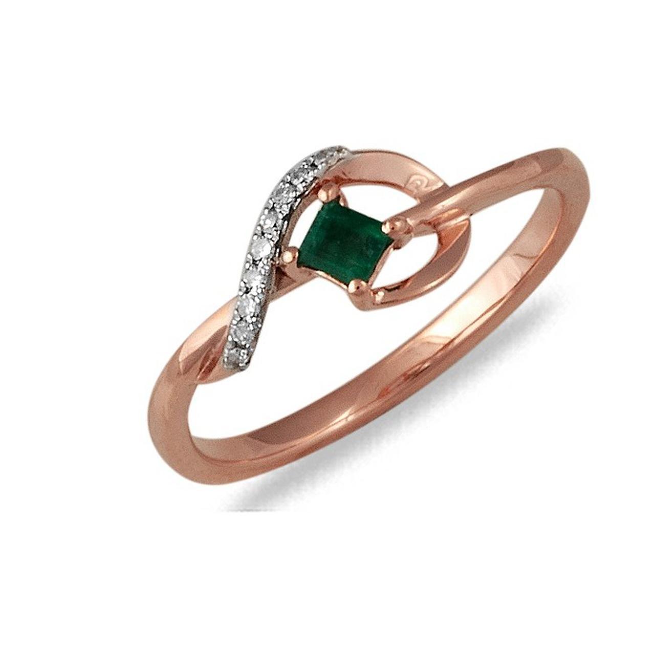 Золотое кольцо с бриллиантами и изумрудом, размер 17 (033110)