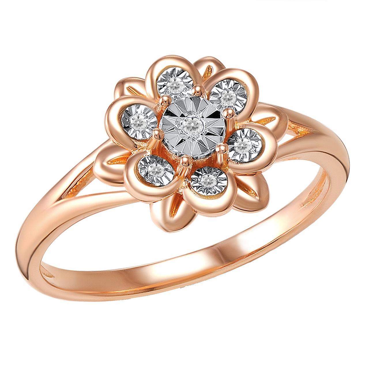 Золотое кольцо с бриллиантами, размер 15.5 (813717)