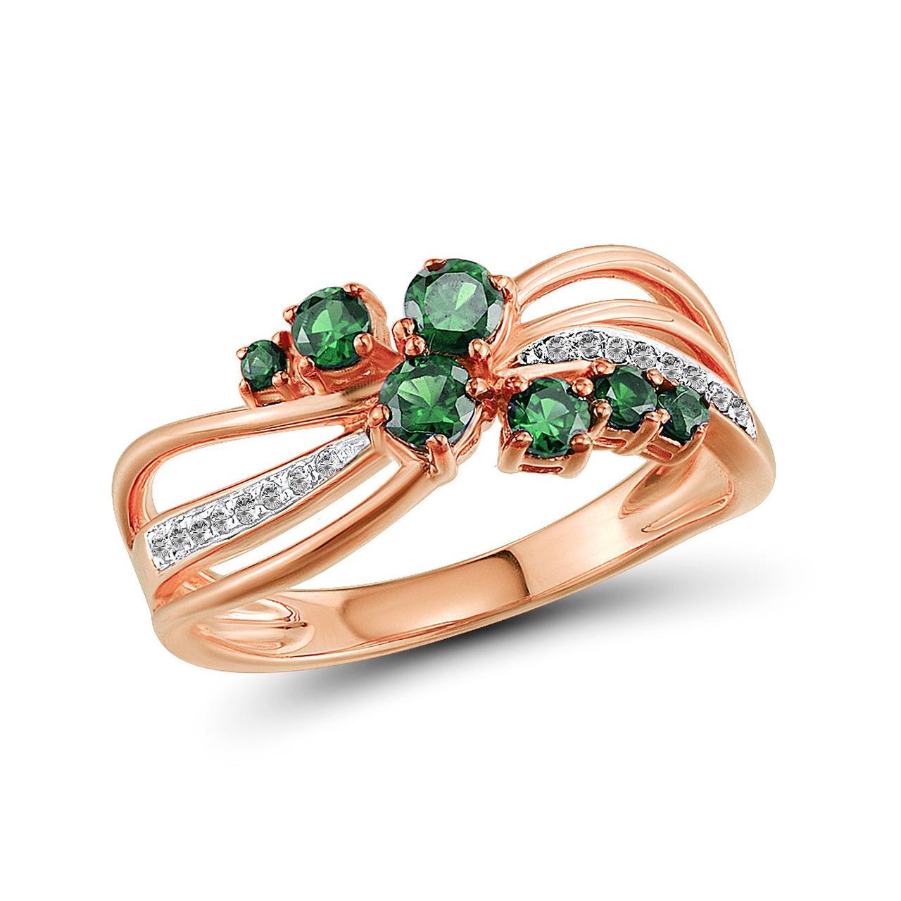 Золотое кольцо с бриллиантами и изумрудами, размер 18 (1616687)