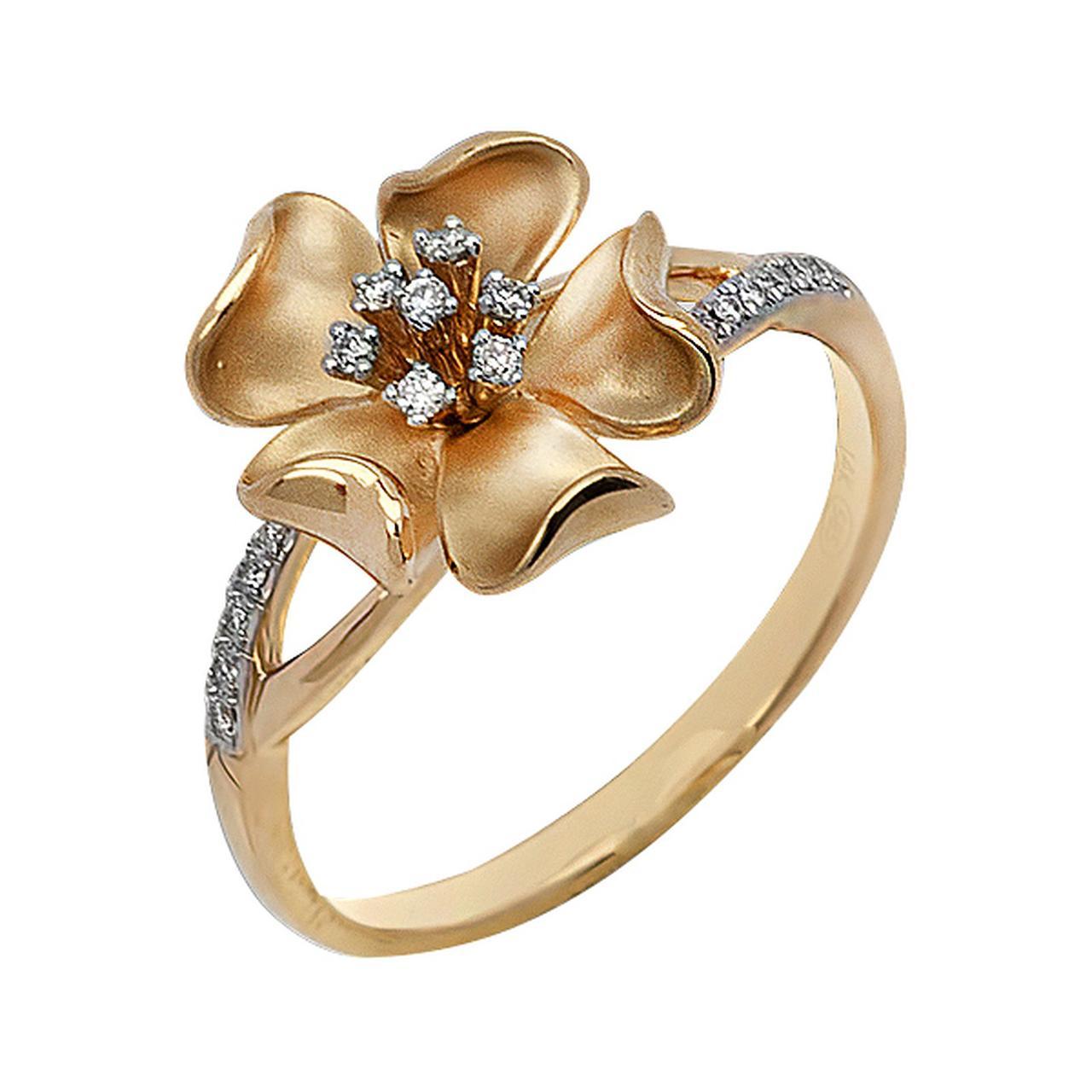Золотое кольцо с бриллиантами, размер 16 (044154)