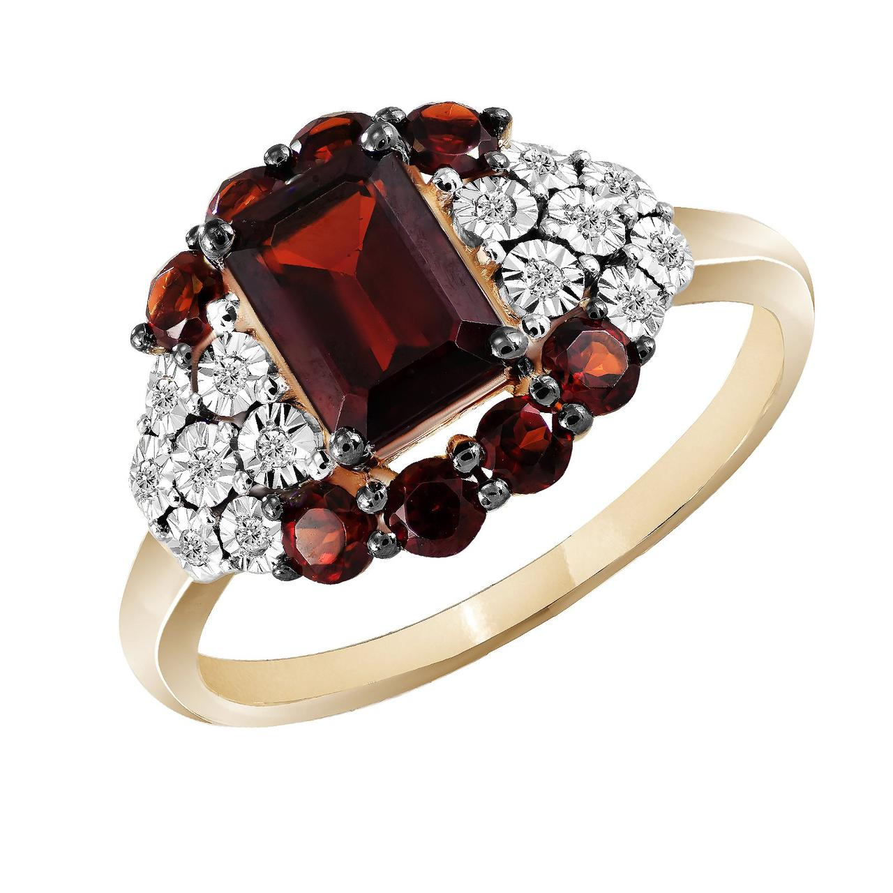 Золотое кольцо с бриллиантами и гранатами, размер 17 (822593)
