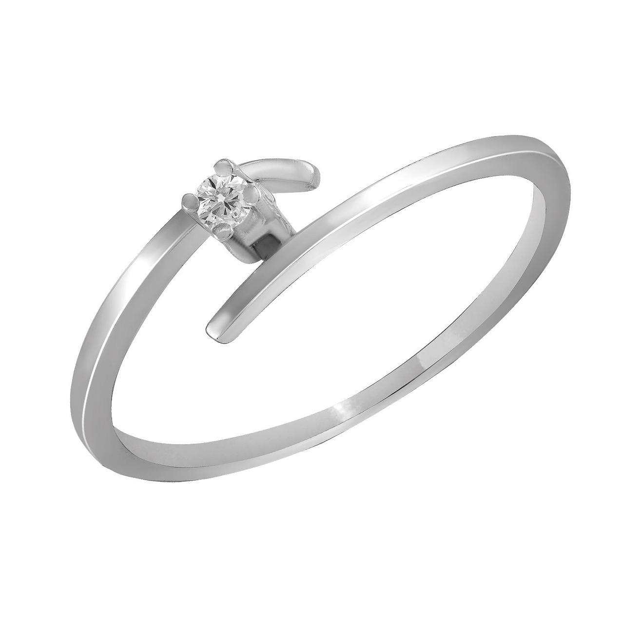 Золотое кольцо с бриллиантом, размер 17.5 (870350)