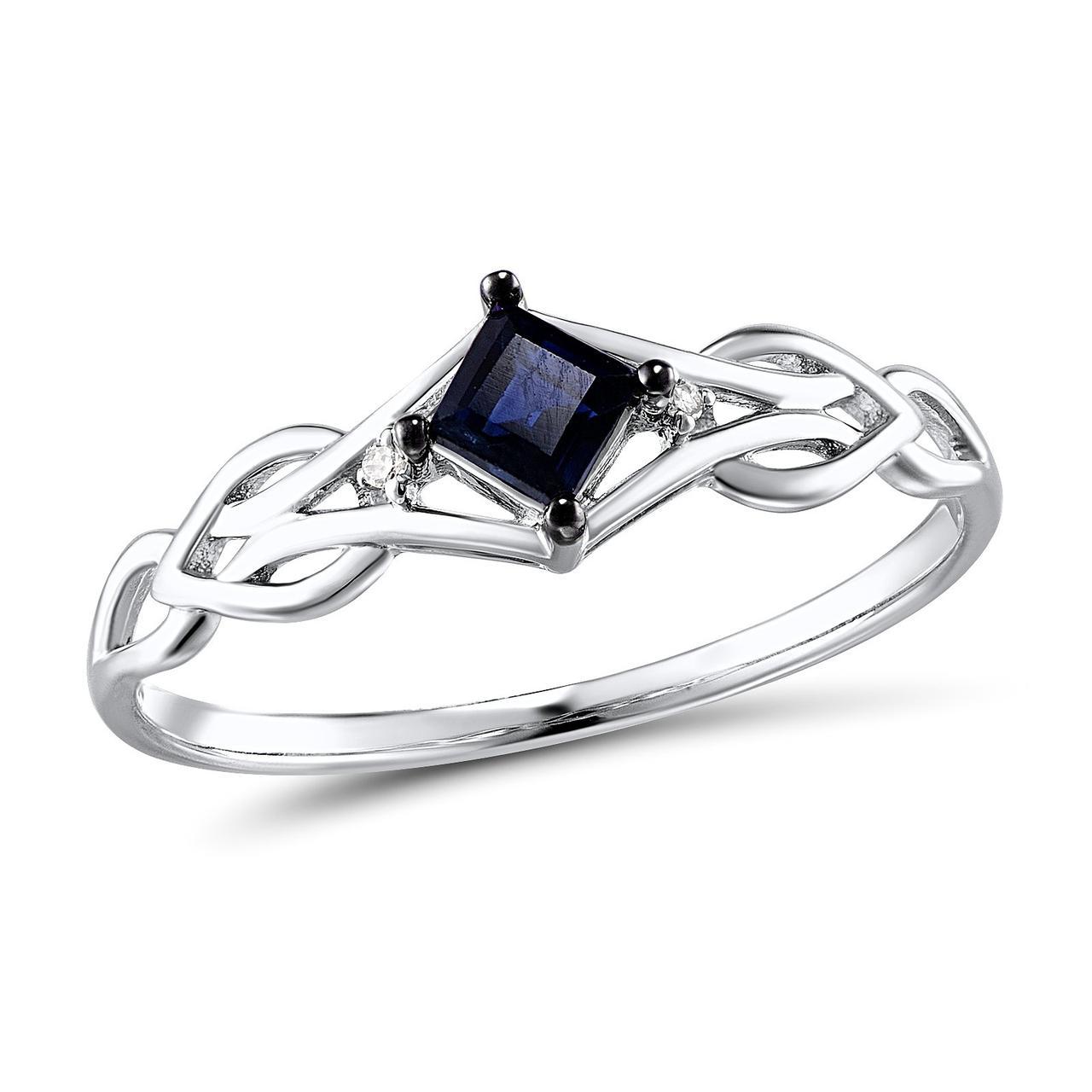 Золотое кольцо с бриллиантами и сапфиром, размер 15.5 (259059)