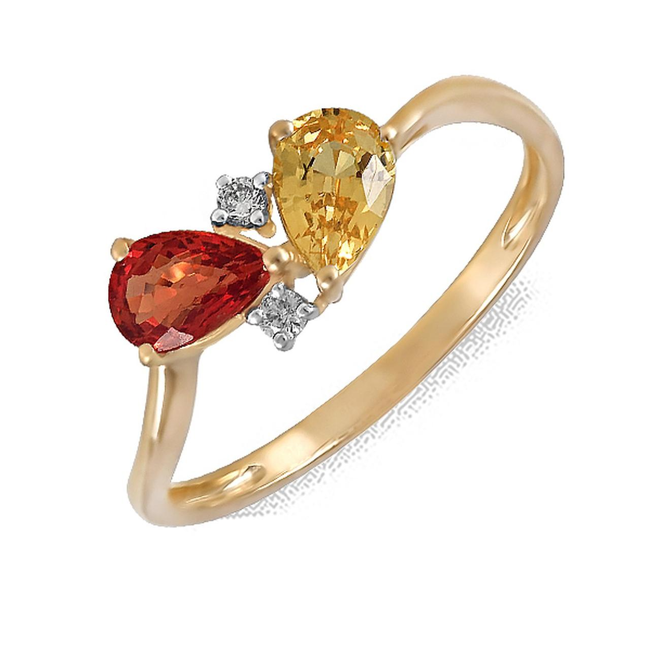 Золотое кольцо с бриллиантами и сапфирами, размер 16 (161852)
