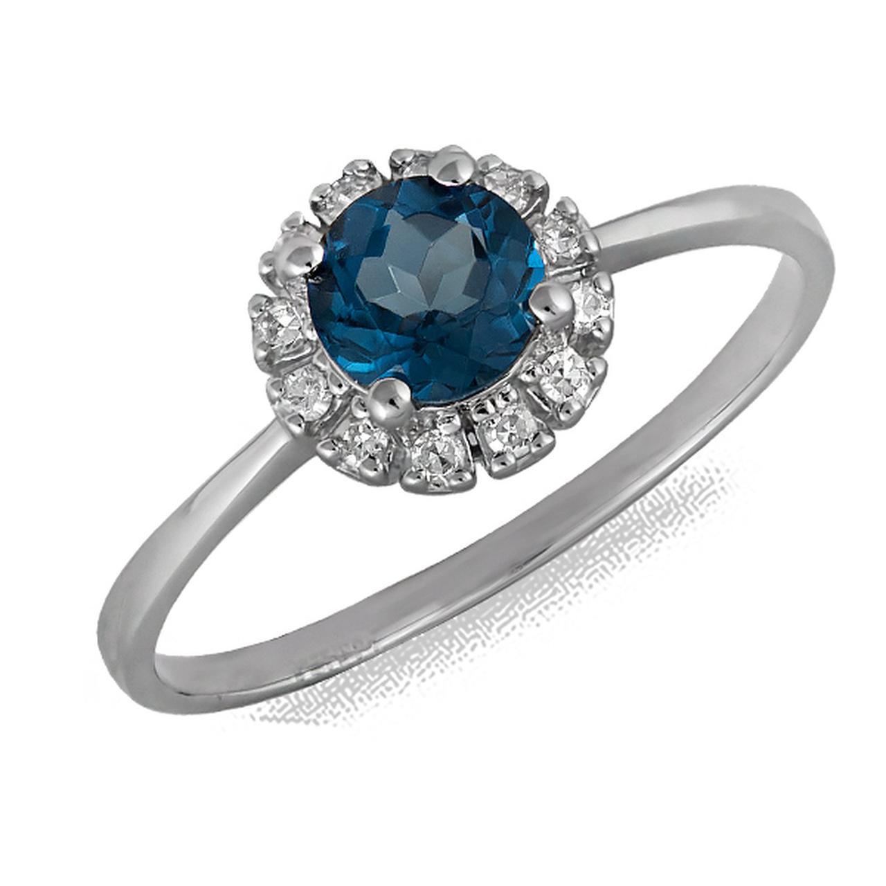 Золотое кольцо с бриллиантами и топазом, размер 16.5 (075759)