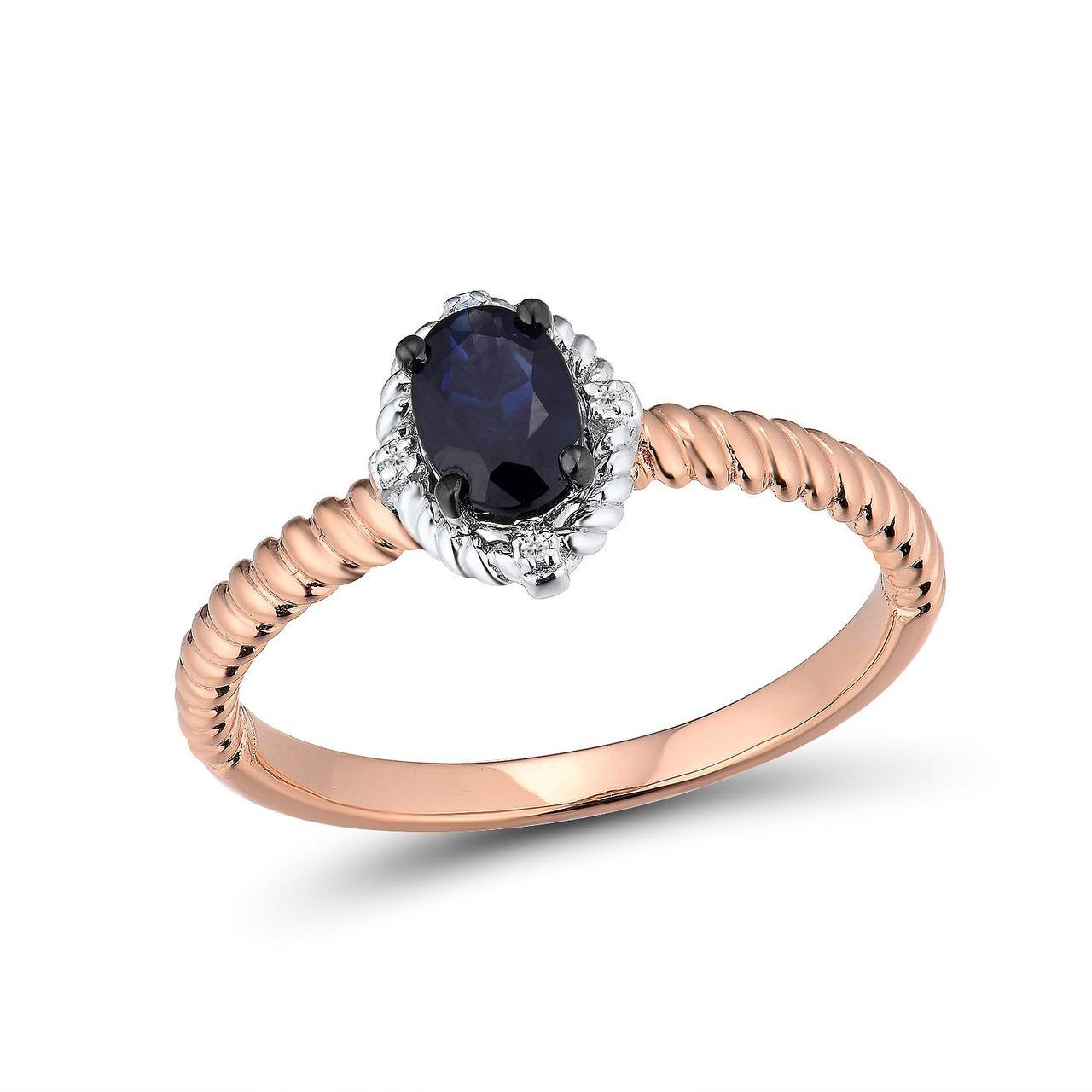 Золотое кольцо с бриллиантами и сапфиром, размер 16 (1681417)