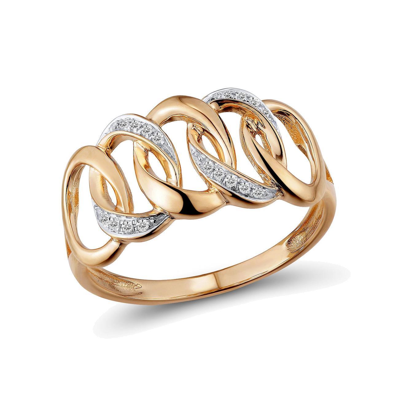 Золотое кольцо с бриллиантами, размер 16 (1624702)