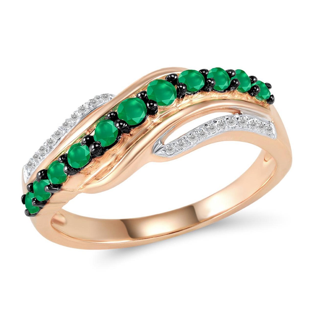 Золотое кольцо с бриллиантами и изумрудами, размер 16.5 (1681443)