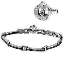 Мужской браслет из стали c бриллиантом, сапфиром и шпинелем, размер 22 (1682029)