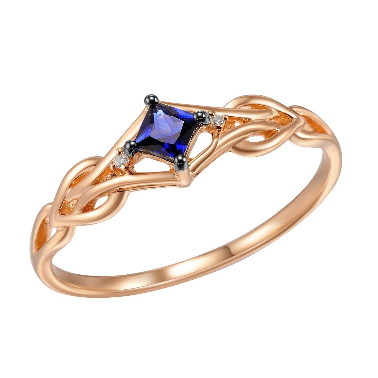 Золотое кольцо с бриллиантами и сапфиром, размер 16.5 (1509431)