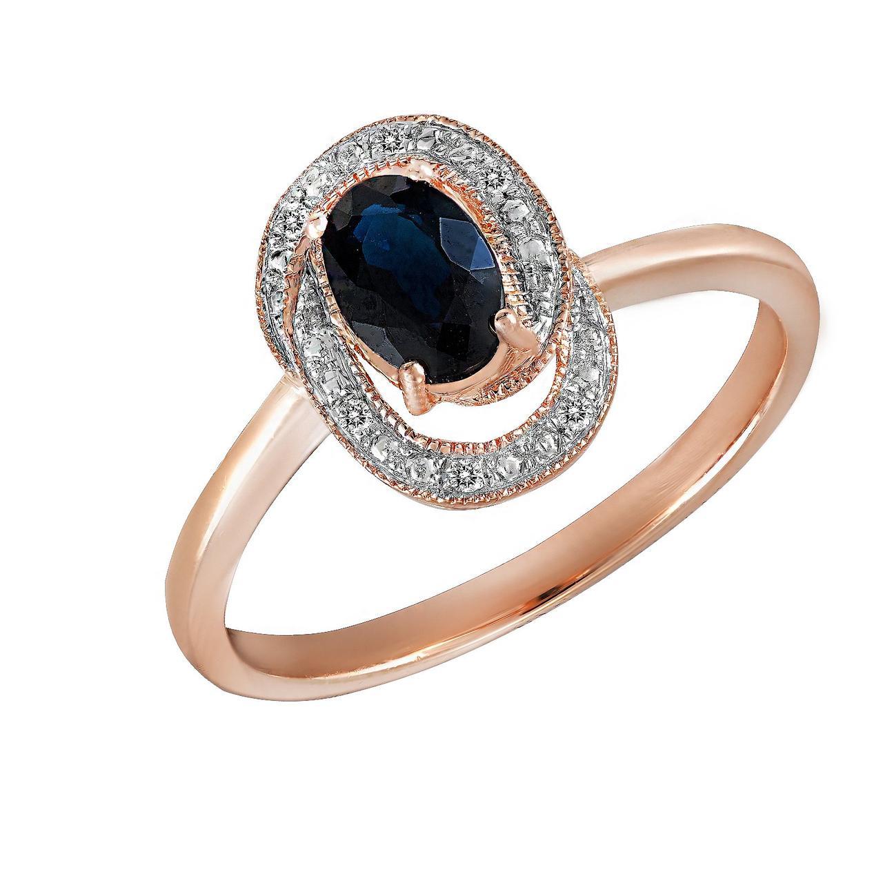 Золотое кольцо с бриллиантами и сапфиром, размер 16 (696071)