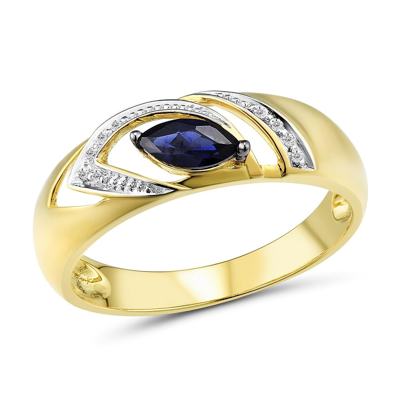 Золотое кольцо с бриллиантами и сапфиром, размер 16 (1645328)