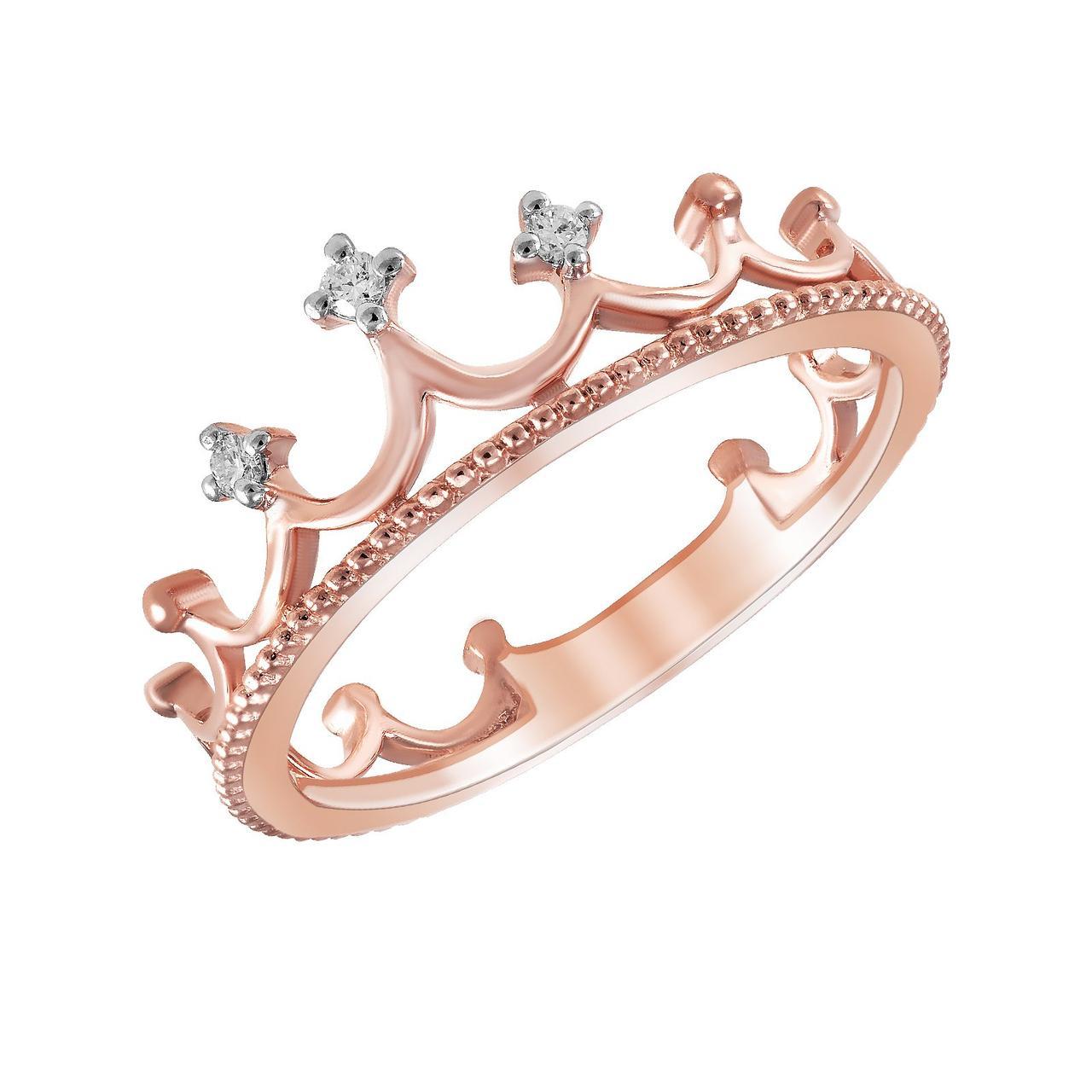 Золотое кольцо с бриллиантами, размер 15.5 (278070)