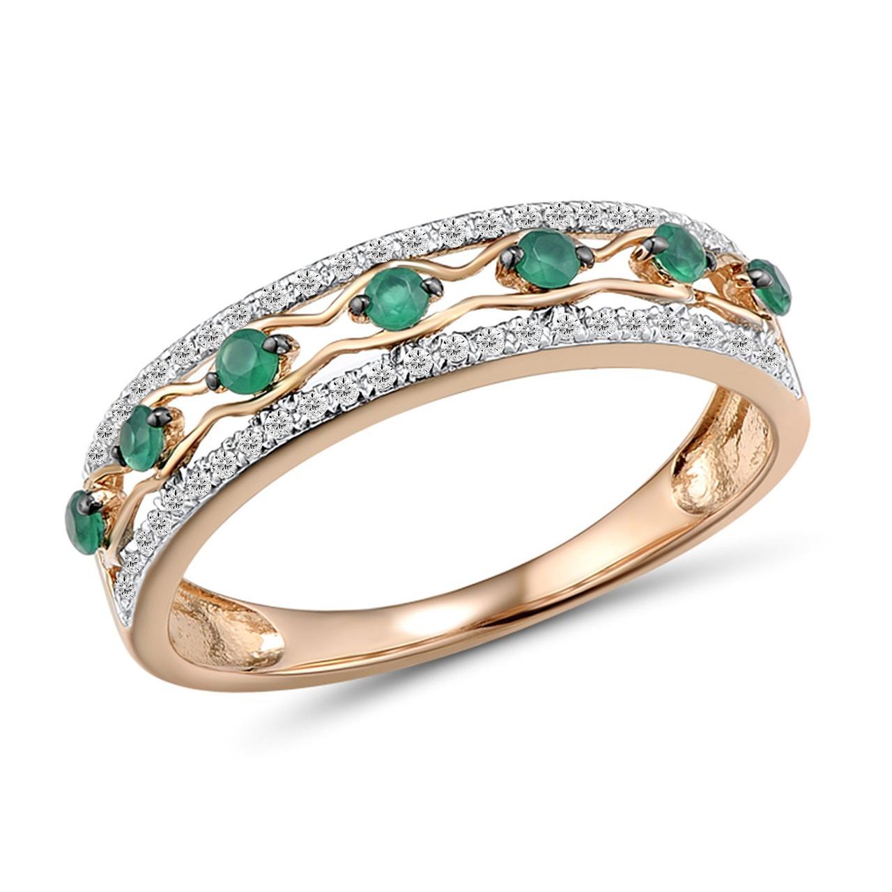 Золотое кольцо с бриллиантами и изумрудами, размер 16 (1681431)