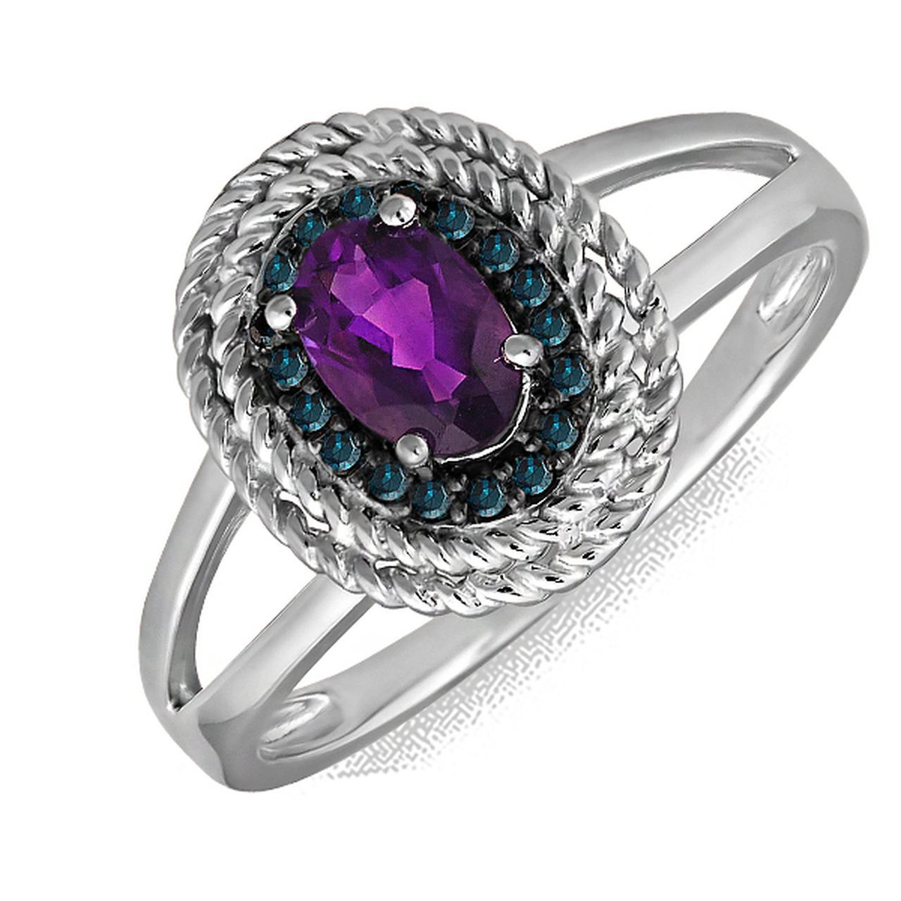 Золотое кольцо с аметистом и бриллиантами, размер 19 (078713)