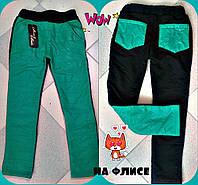 Детские теплые брюки для девочки т. плащевка на флисе / мята