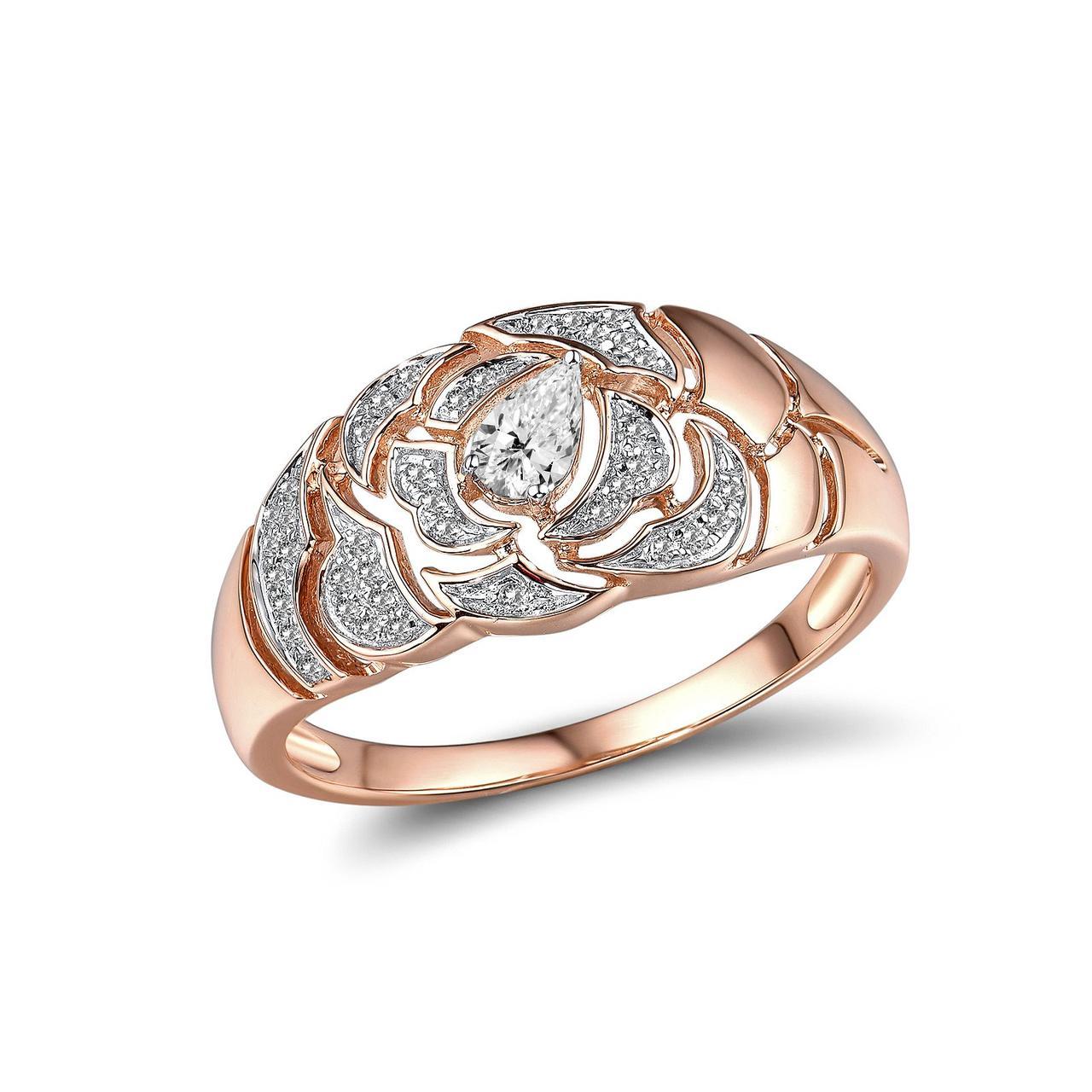 Золотое кольцо с бриллиантами и сапфиром, размер 18.5 (1719400)