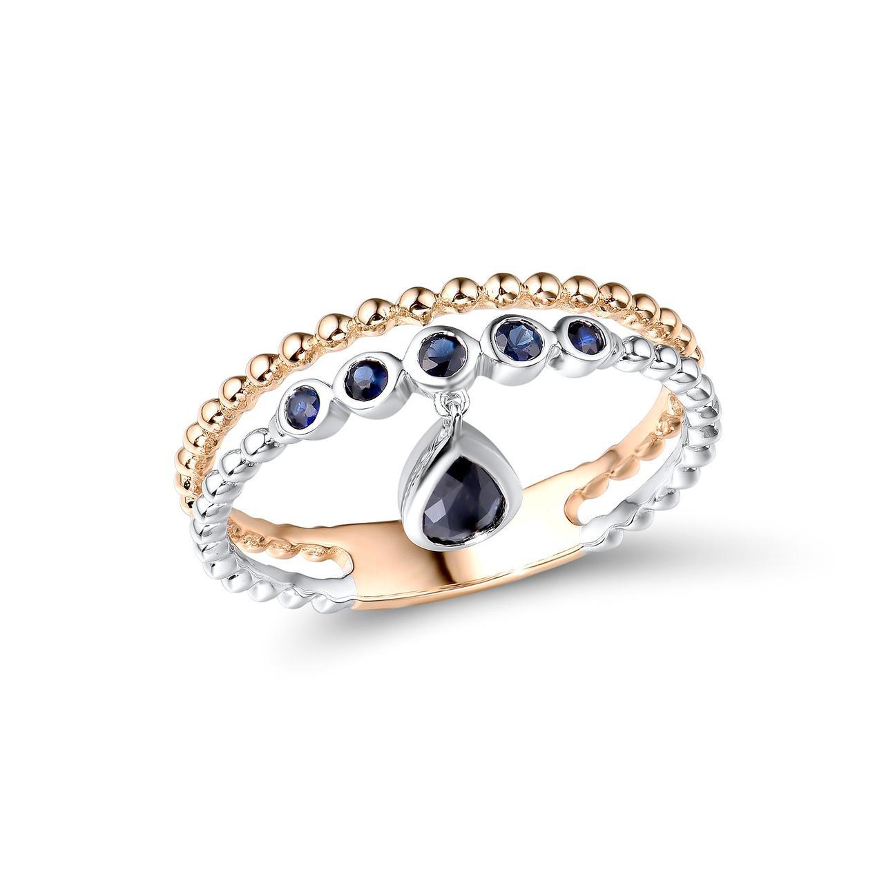 Золотое кольцо с сапфирами, размер 17 (1718846)
