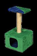 Домик-когтеточка Мур-Мяу Дом-1 Зеленый с синим  КОД: hub_LUBK36057