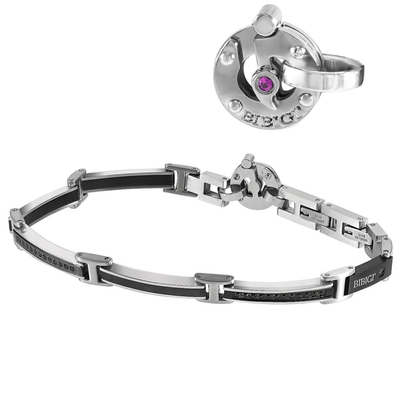 Мужской браслет из стали c бриллиантом, сапфиром и шпинелем, размер 22 (1682028)