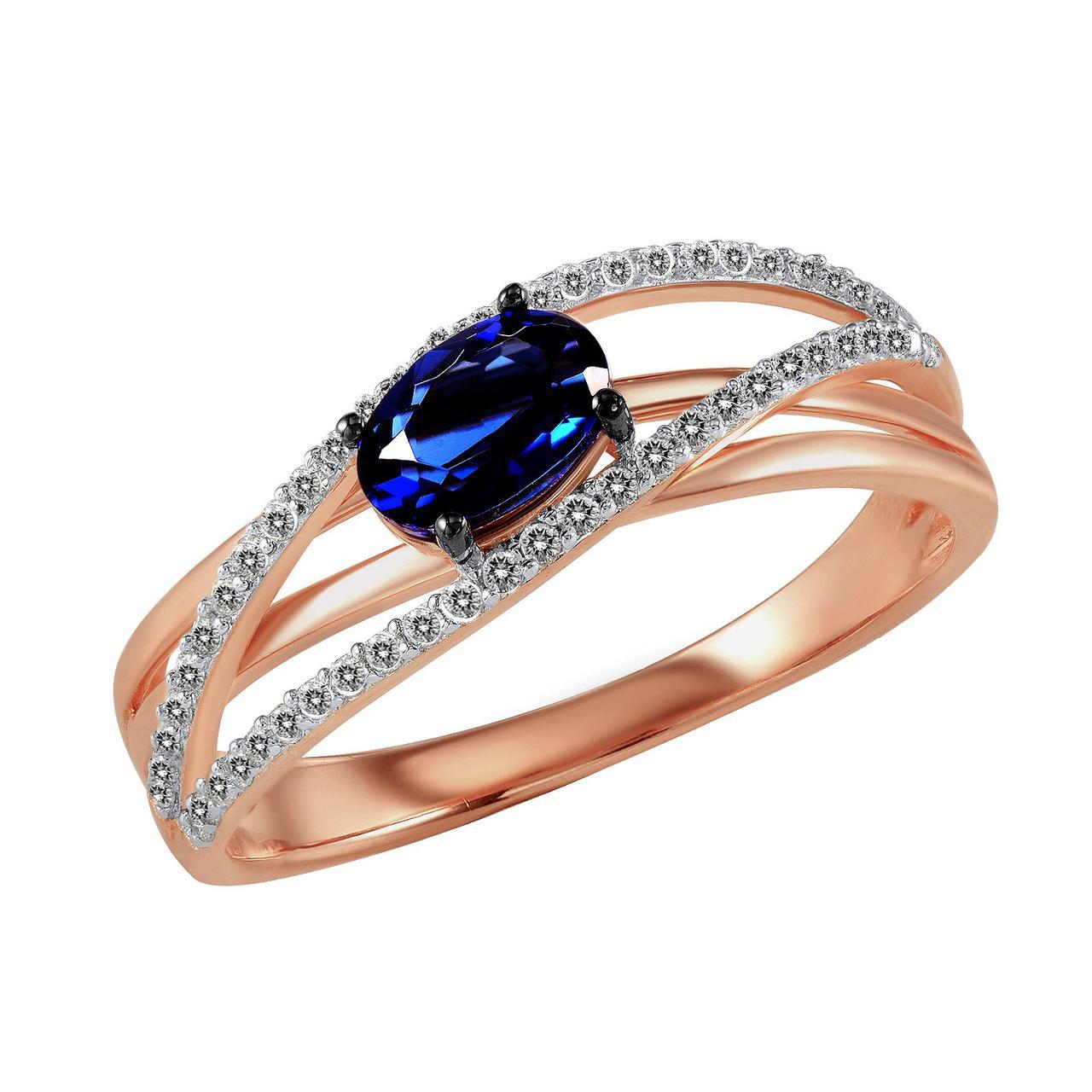 Золотое кольцо с бриллиантами и сапфиром, размер 16 (562731)