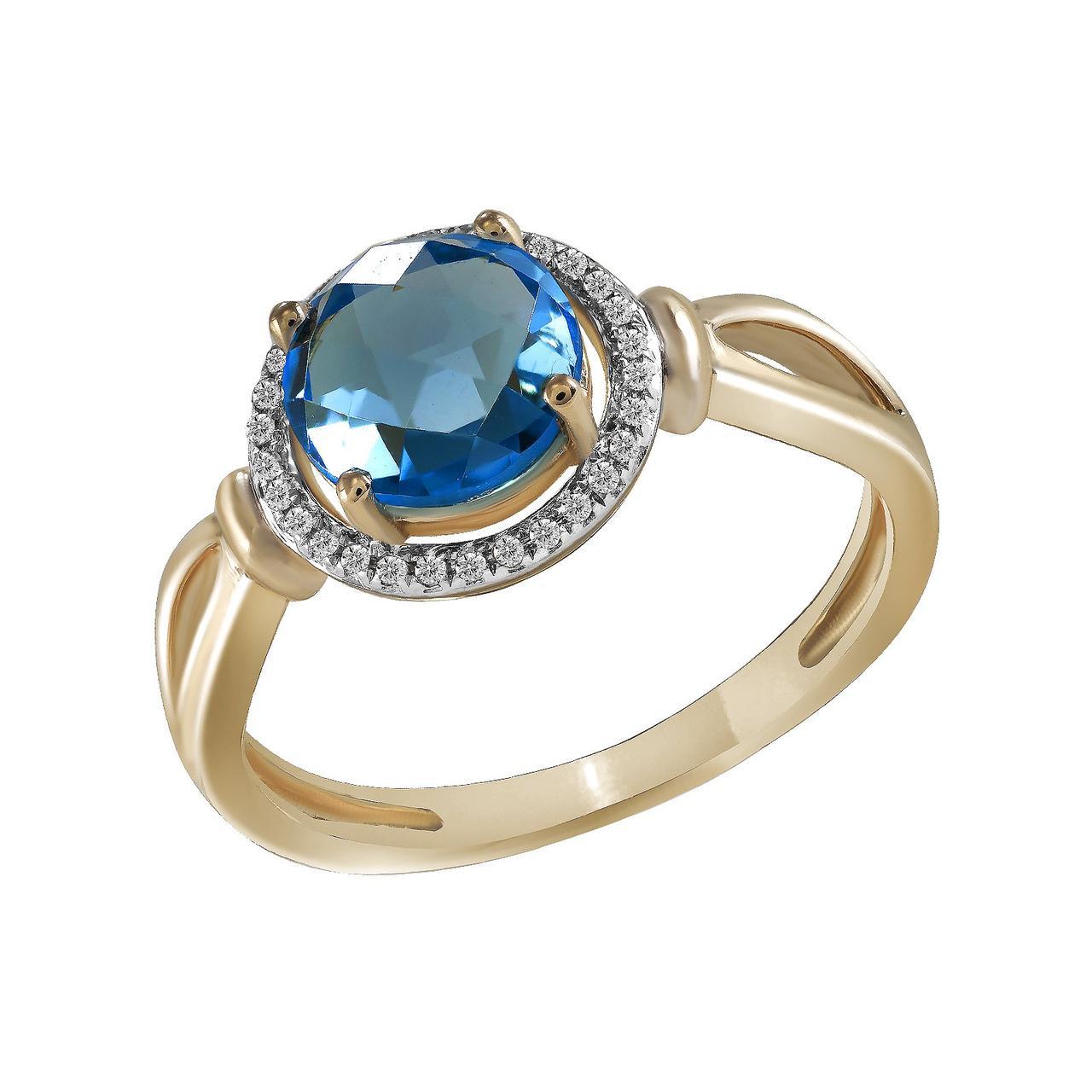 Золотое кольцо с бриллиантами и топазом, размер 17 (827023)