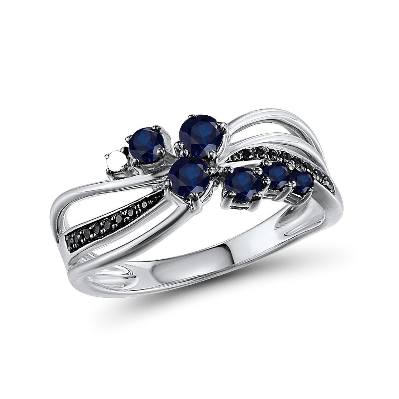 Золотое кольцо с бриллиантами и сапфирами, размер 16 (259009)