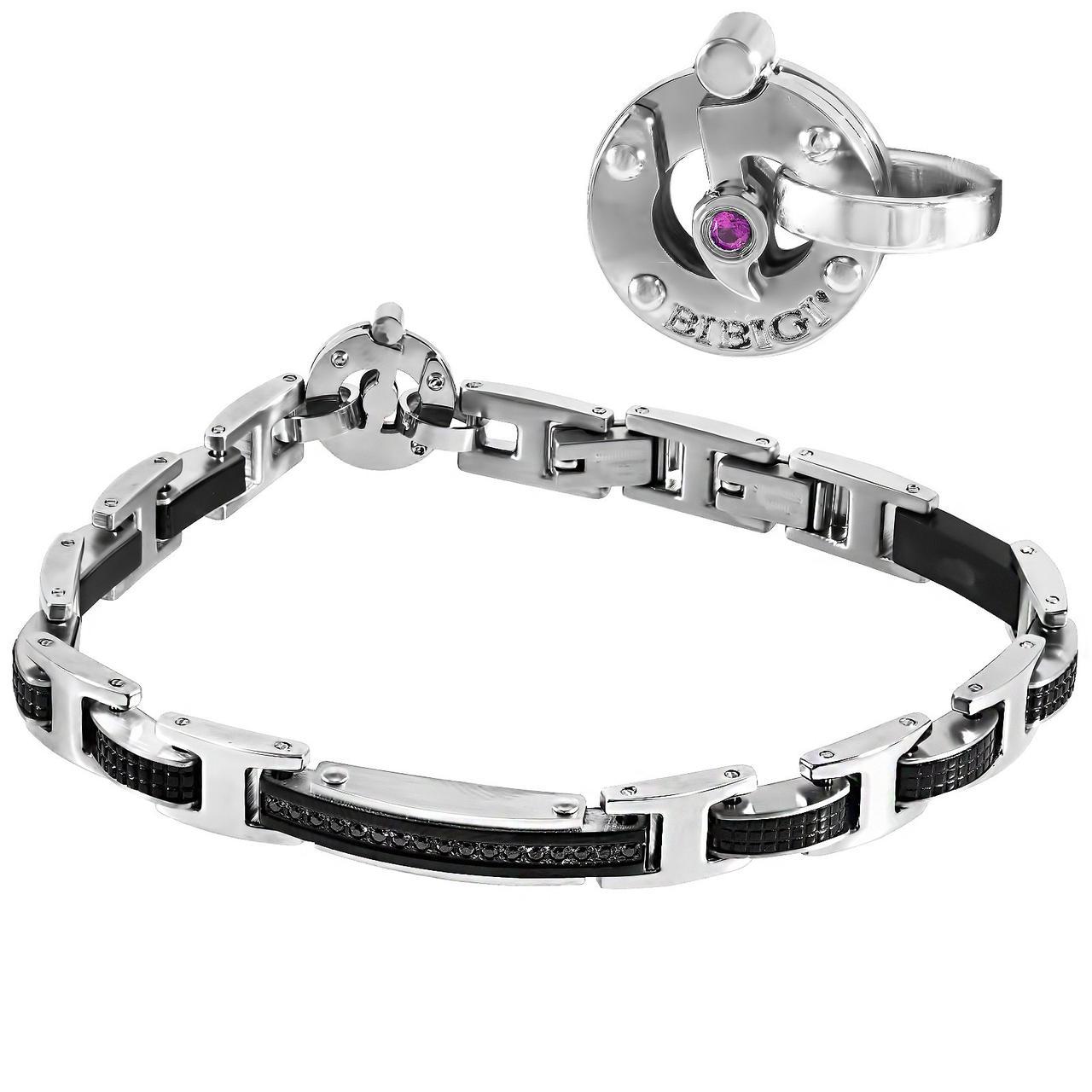 Мужской браслет из стали c бриллиантом, сапфиром и шпинелем, размер 21.5 (1682032)