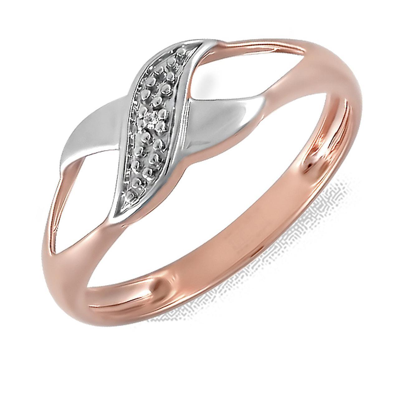 Золотое кольцо с бриллиантом, размер 16.5 (156315)