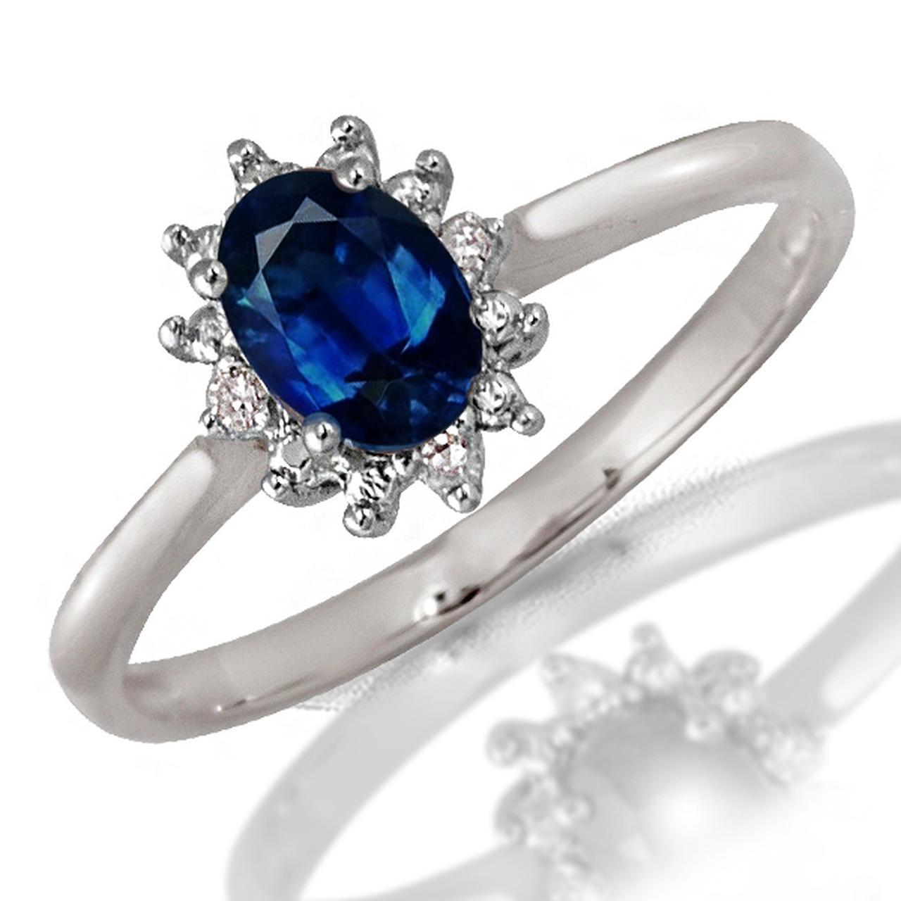 Золотое кольцо с бриллиантами и сапфиром, размер 17 (046987)