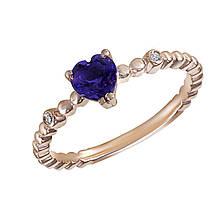Золотое кольцо с аметистом и бриллиантами, размер 17 (1683446)