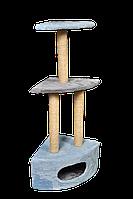 Домик-когтеточка Мур-Мяу Угловой - 2 Голубой с серым  КОД: hub_DfjP49134