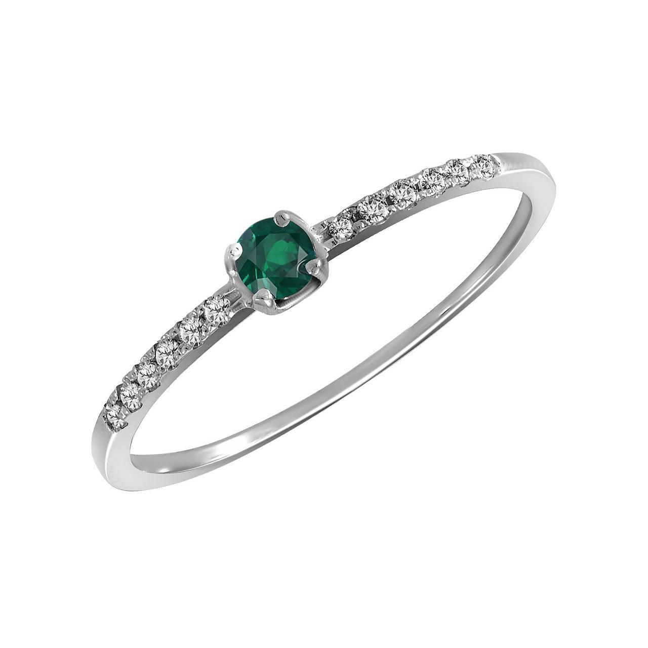 Золотое кольцо с бриллиантами и изумрудом, размер 16.5 (056629)
