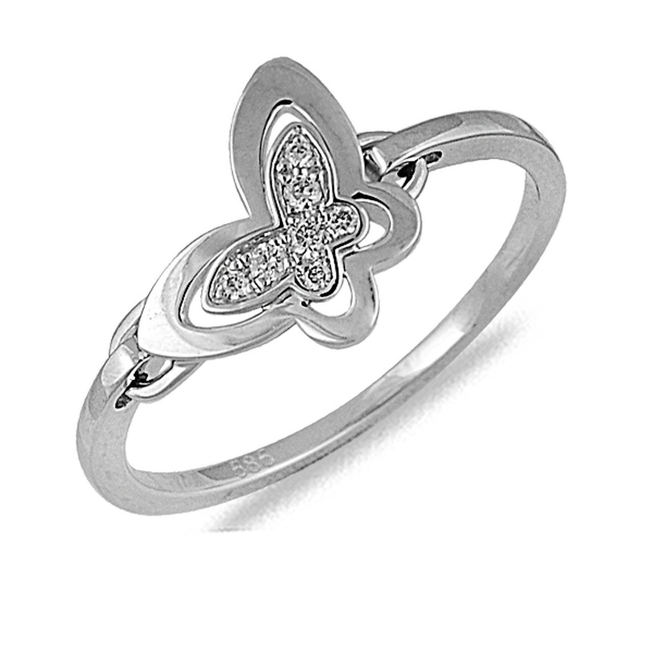 Золотое кольцо с бриллиантами, размер 16.5 (043385)