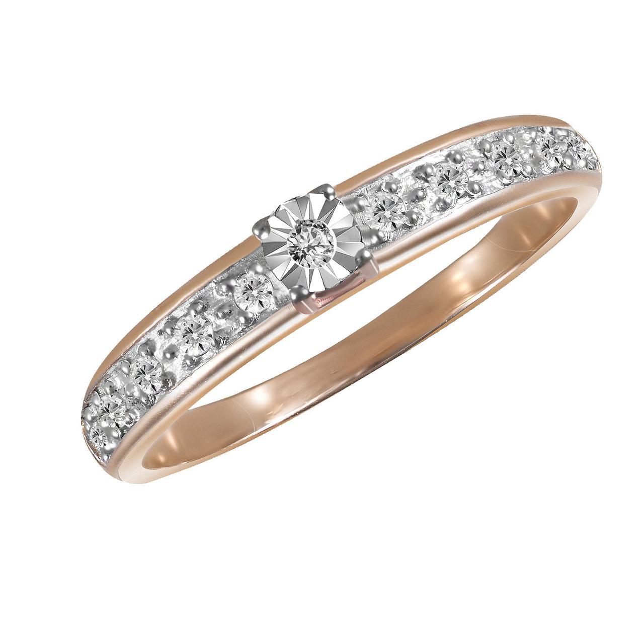 Золотое кольцо с бриллиантами, размер 15.5 (026093)