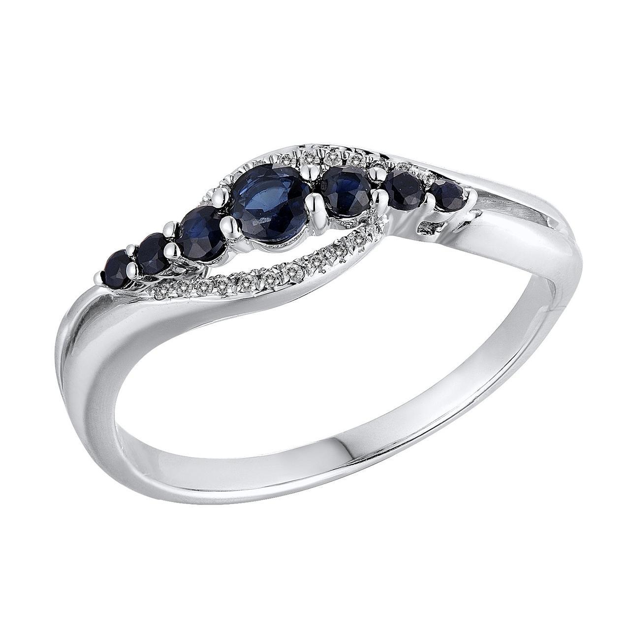Золотое кольцо с бриллиантами и сапфирами, размер 15.5 (813690)