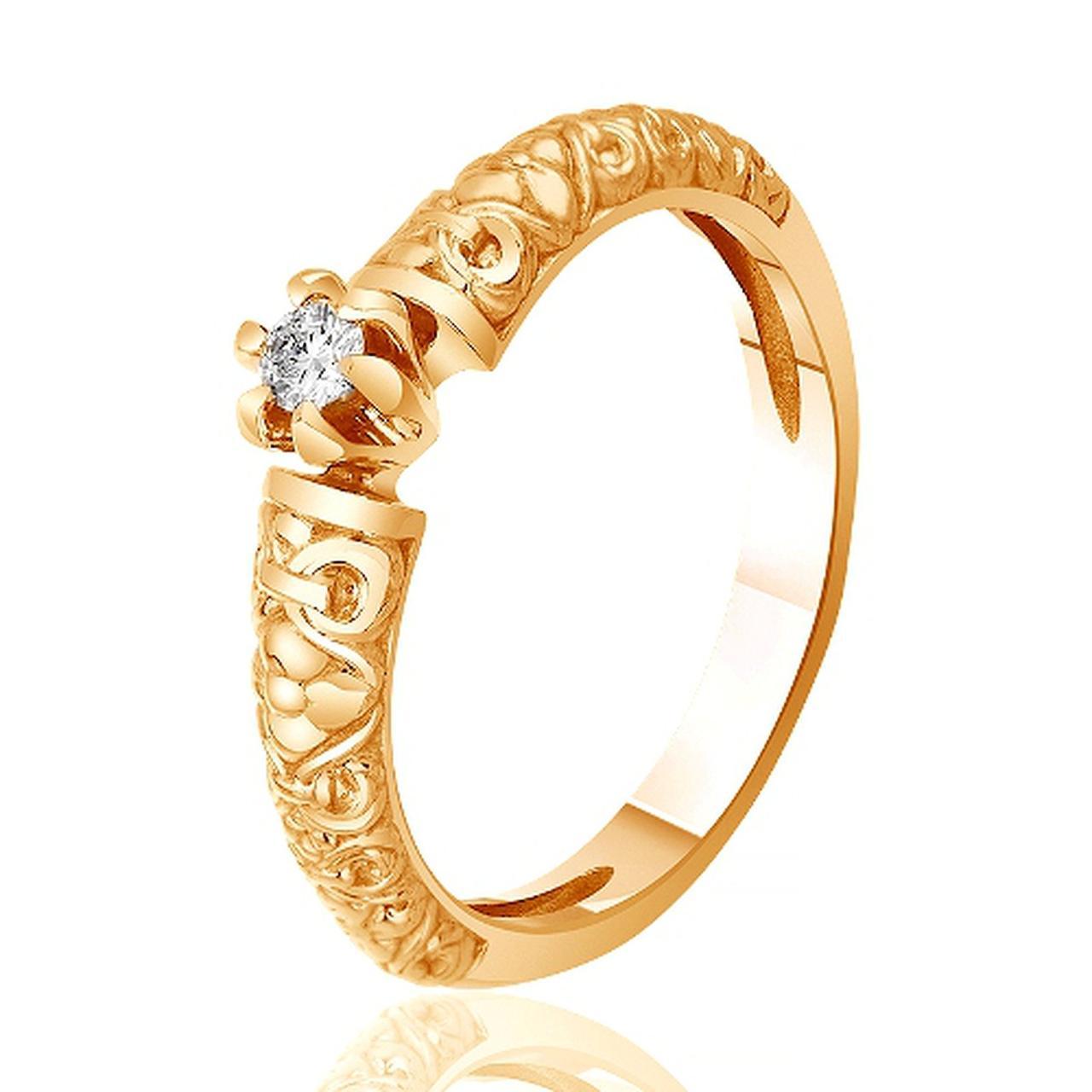 Золотое кольцо с Swarovski, размер 15 (312407)