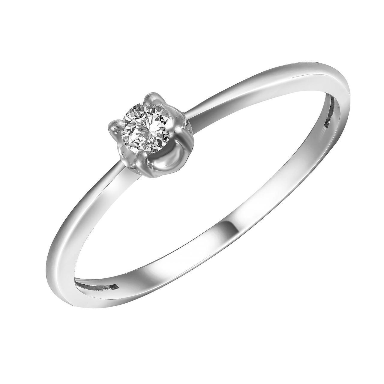 Золотое кольцо с бриллиантом, размер 15 (549843)