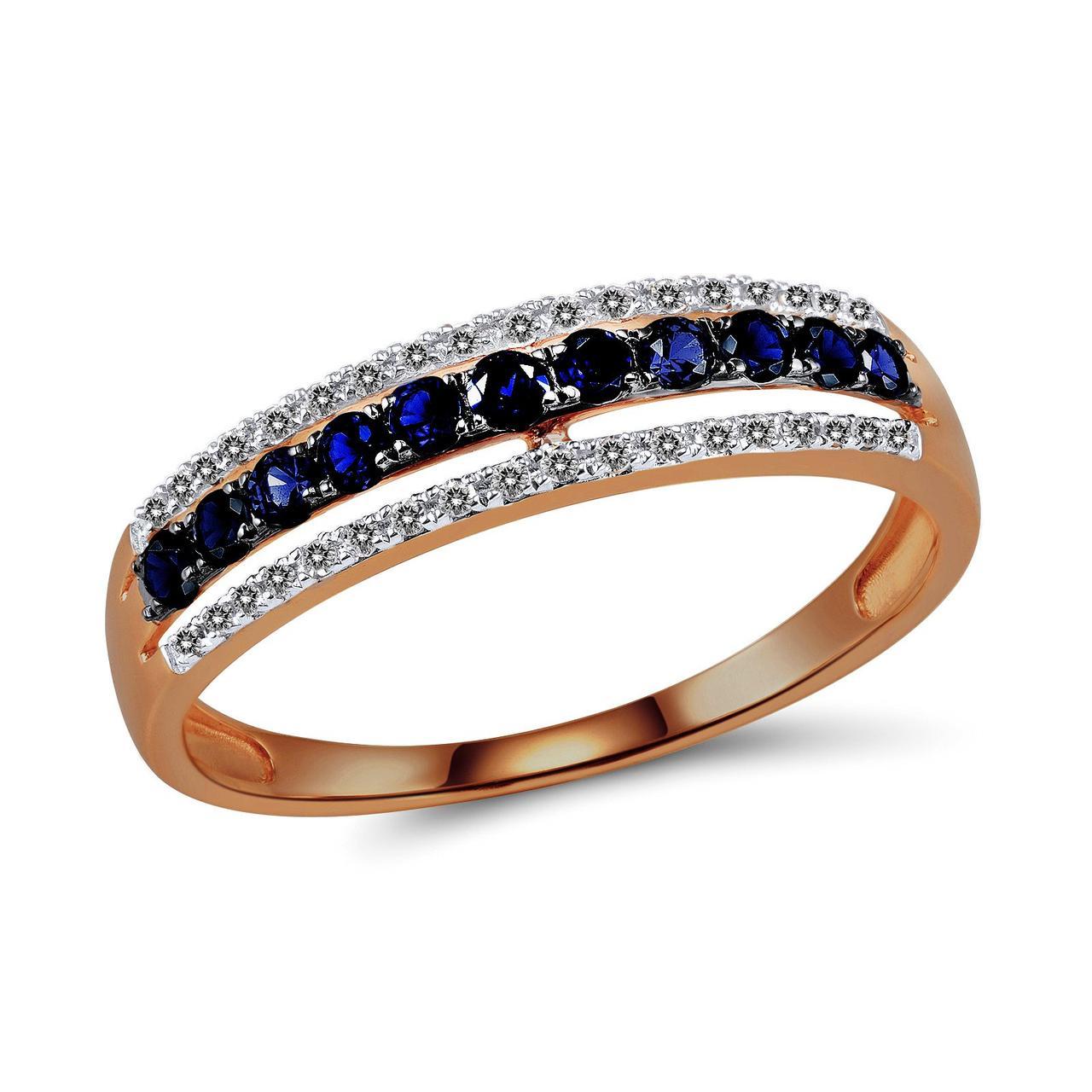 Золотое кольцо с бриллиантами и сапфирами, размер 16.5 (561111)