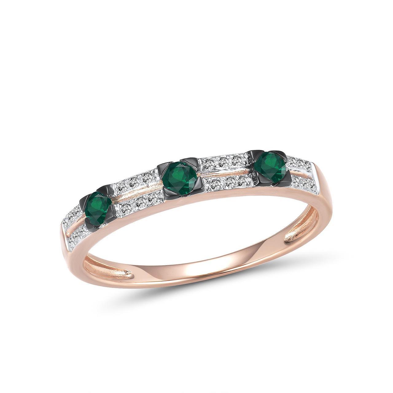 Золотое кольцо с бриллиантами и изумрудами, размер 15.5 (1692555)