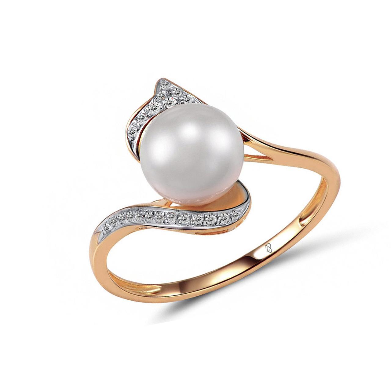 Золотое кольцо с бриллиантами и жемчугом (пресноводным), размер 16 (1551685)