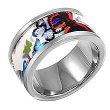 Женское кольцо с эмалью, размер 16 (799066)