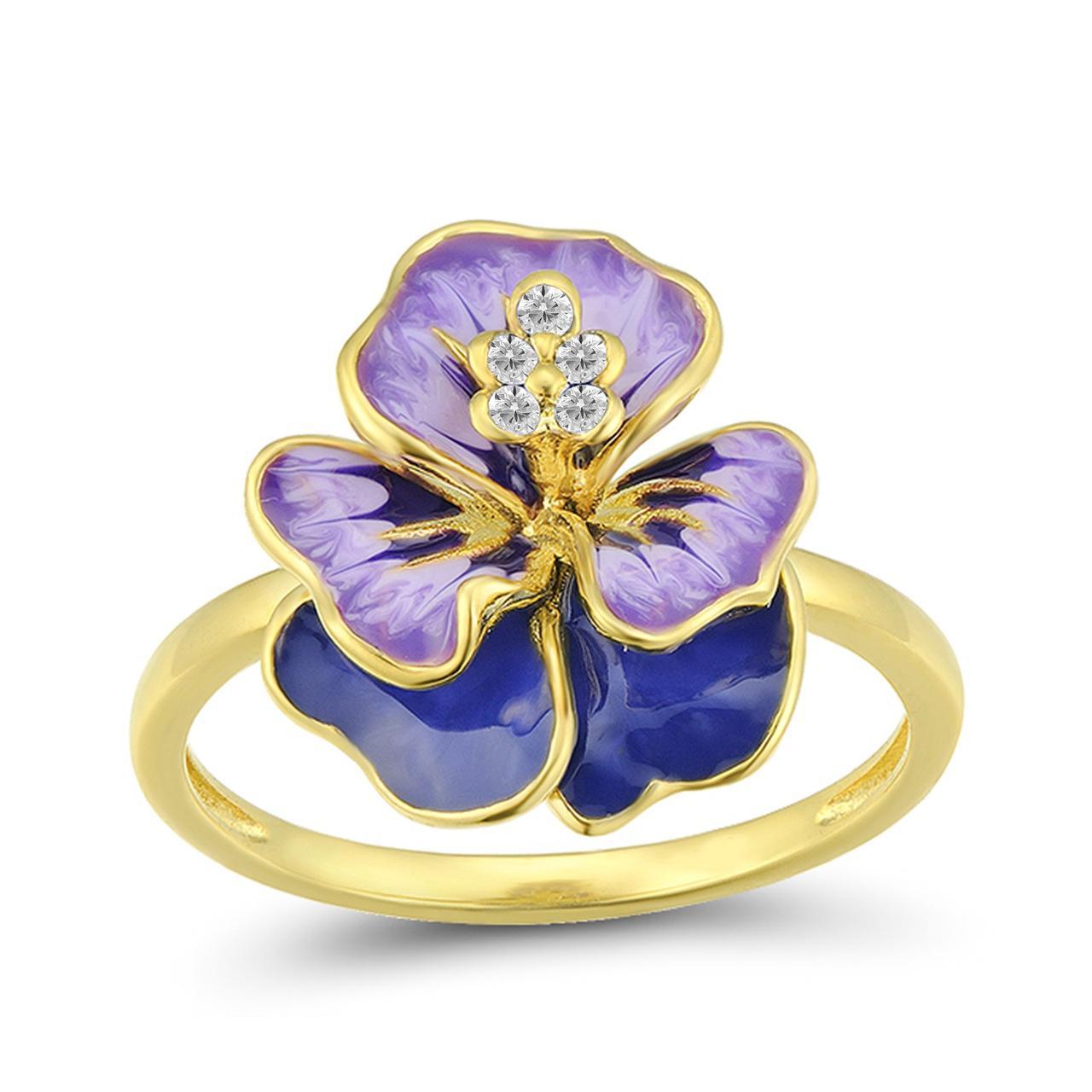 Золотое кольцо с сапфирами и эмалью, размер 16 (1681453)