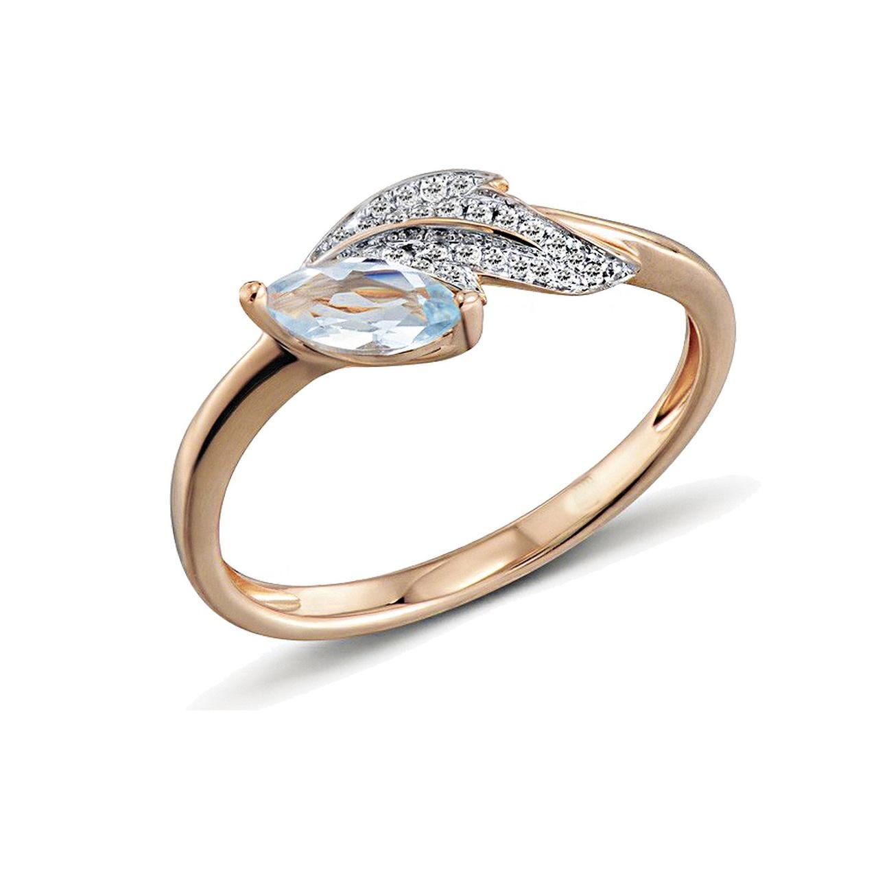 Золотое кольцо с бриллиантами и топазом, размер 16 (1551076)