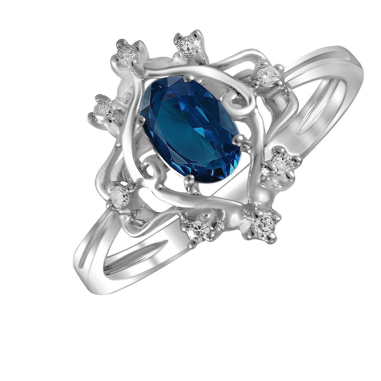 Золотое кольцо с бриллиантами и сапфиром, размер 16 (288494)