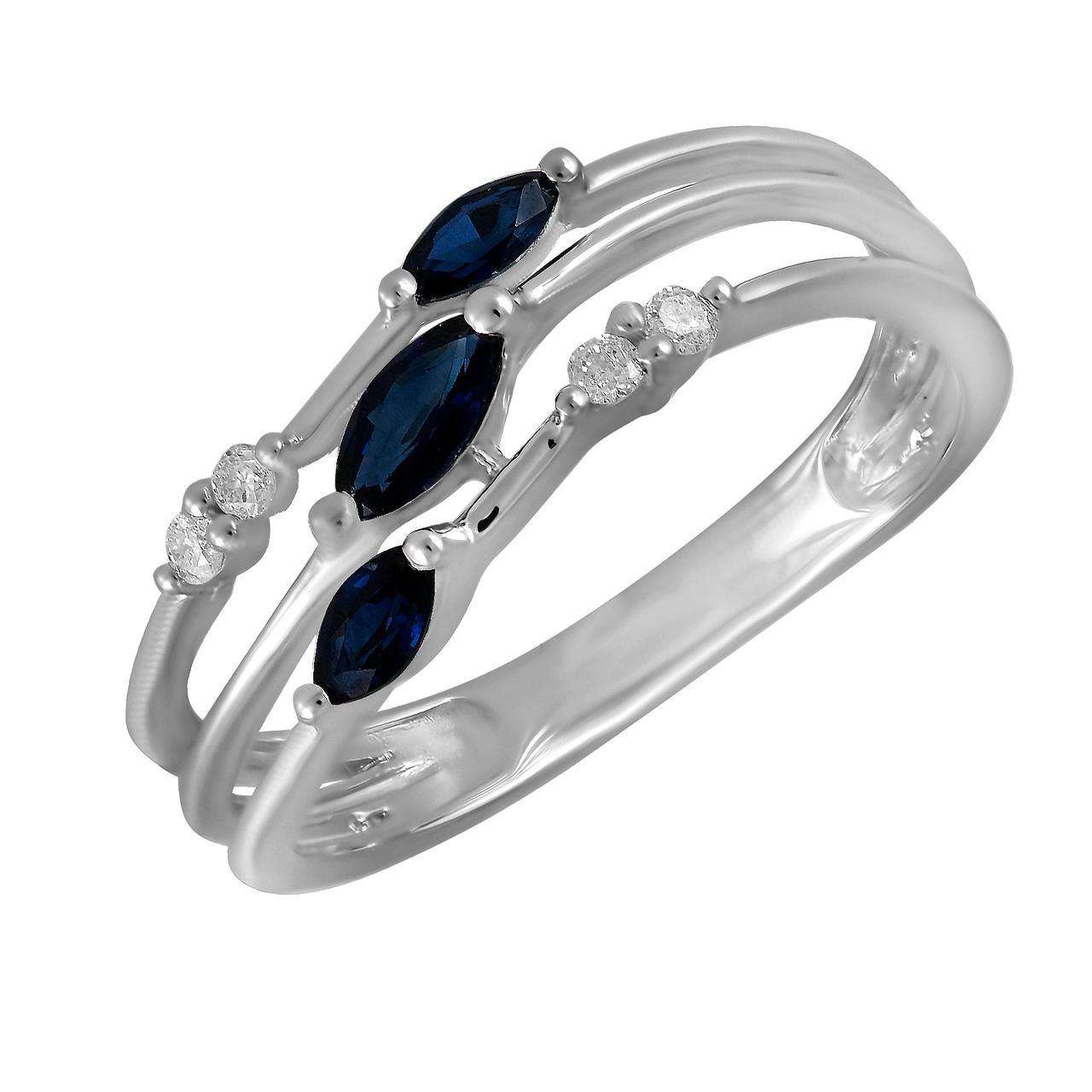 Золотое кольцо с бриллиантами и сапфирами, размер 16 (228823)